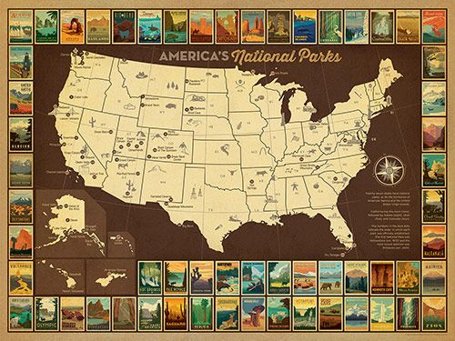 Map of American National Parks This map of the USA celebrates