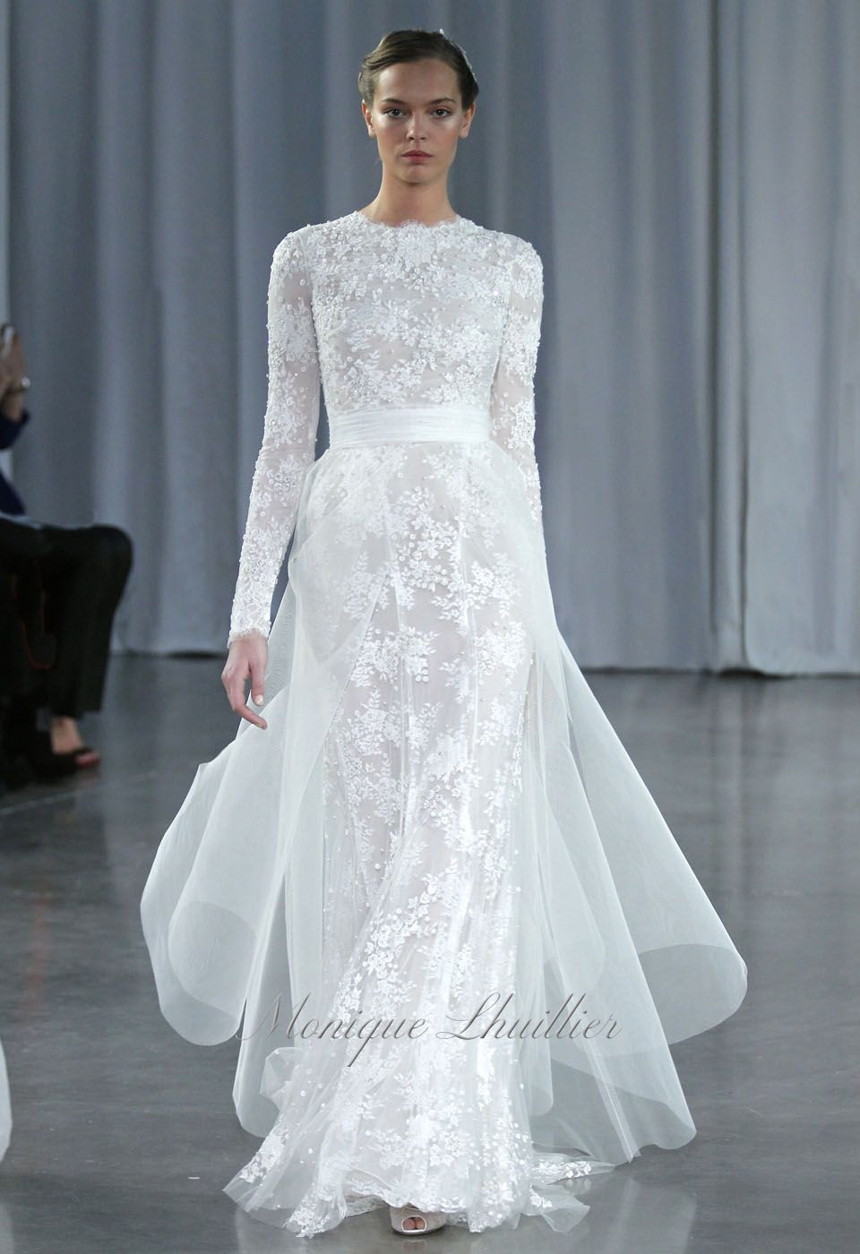 Silk White Chantilly Lace Embroidered Long Sleeve Column Gown Silk Monique Lhuillier Bridal Sleeves Wedding Dress Long Sleeve Monique Lhuillier Wedding Dress