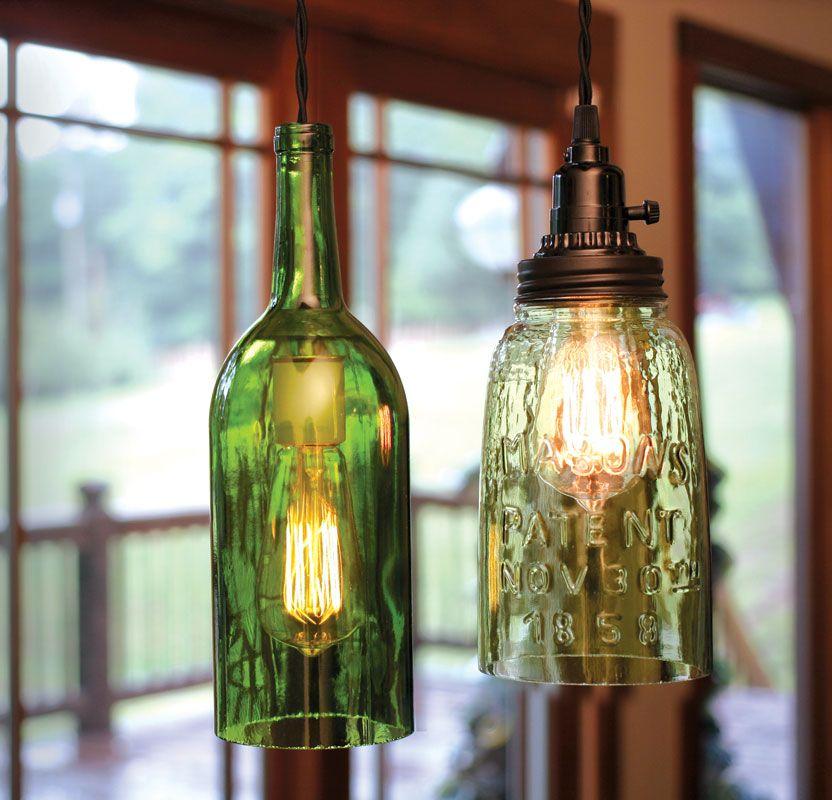 750ml wine bottle pendant light and open bottom quart mason jar pendant light