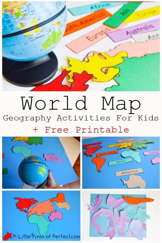 FREE World Map Continent Printable Preschool Fun And Learning - Printable childrens world map