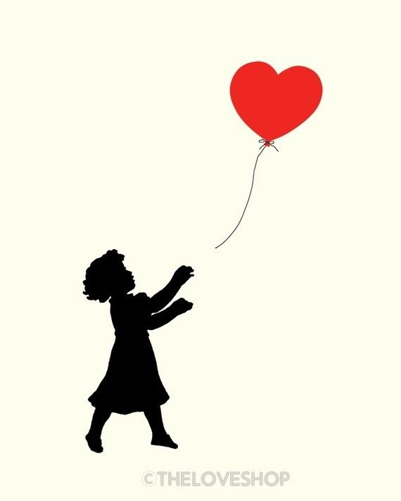 FOLLOW YOUR HEART print -- featuring sweet little girl chasing a red balloon heart