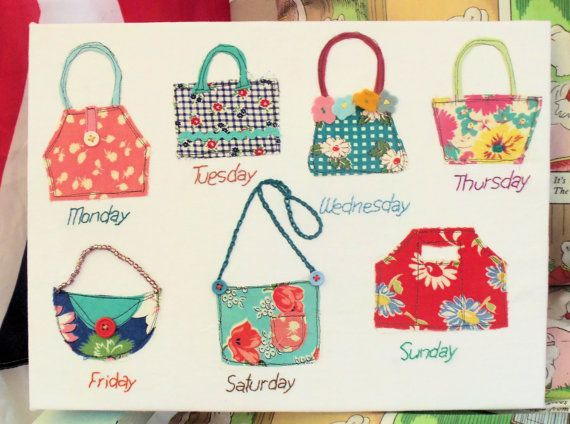 Days of week handbags raw edge applique sew applique patterns