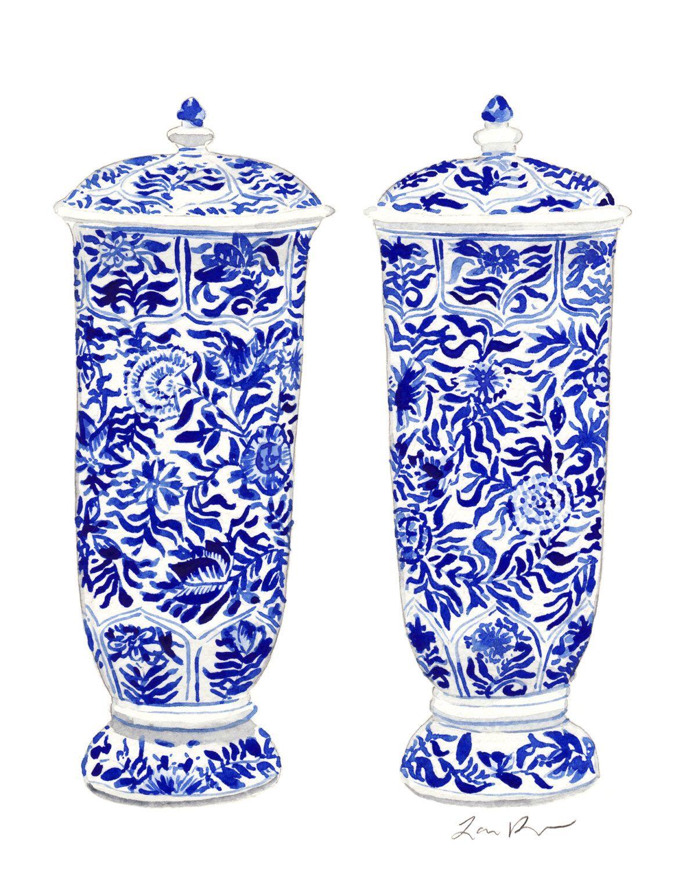 blue and white ginger jar vases original watercolor 8 x 10