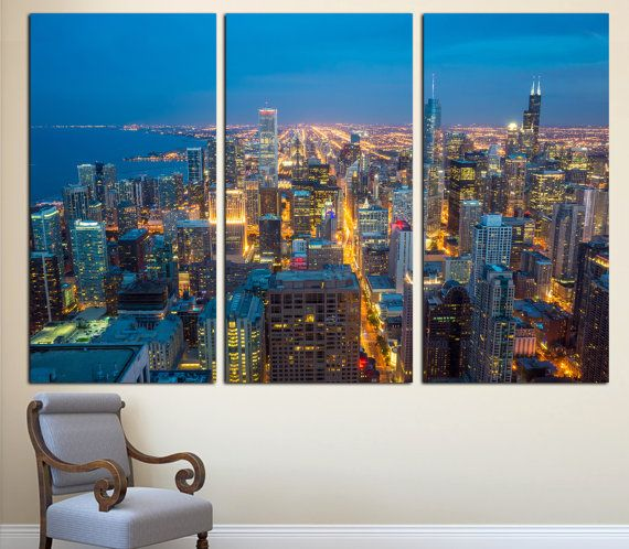 Chicago City Skyline Art Canvas Print 3 Panel Split Triptych