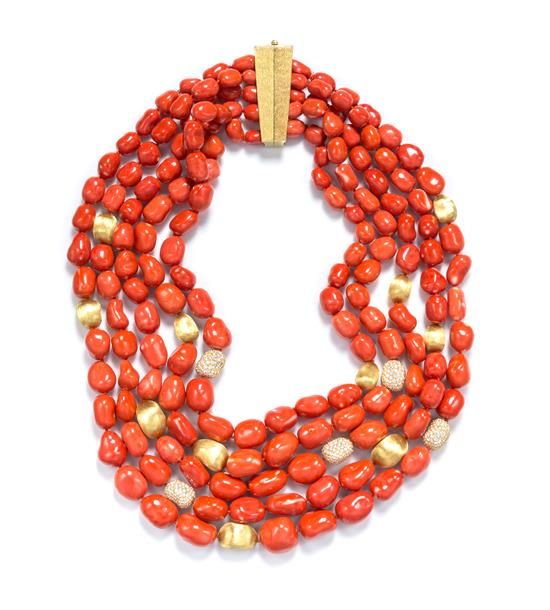 An 18 Karat Yellow Gold, Coral and Diamond Multi Strand Necklace | Important Jewelry | April 19 & 20, 2015 | Chicago