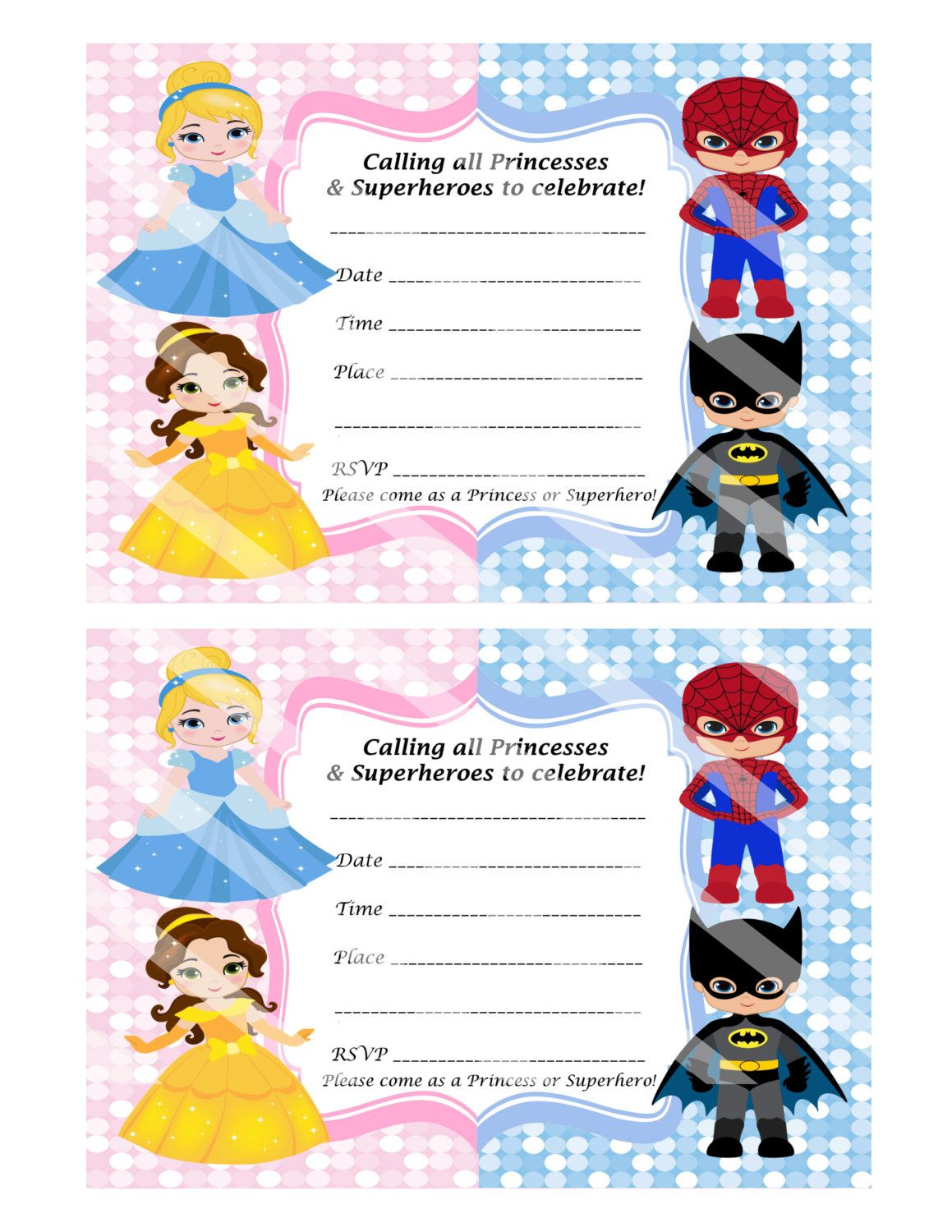 DIY - FILL IN Yourself Princess and Superhero Invitation | Hand ...