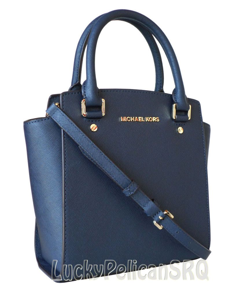 0ba6bbc4a013 Michael Kors Large Messenger Crossbody Bag Selma Saffiano Leather Blue Navy