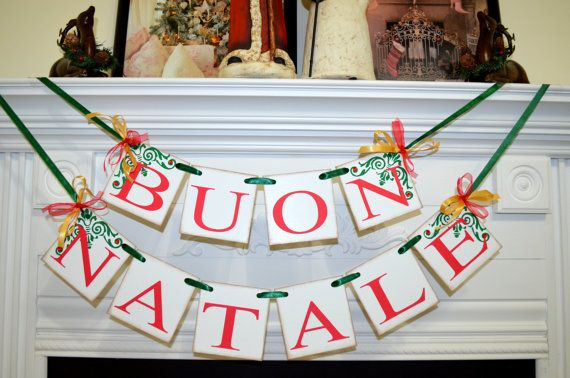 Buon Natale 4x4.Vintage Italian Christmas Banner Buon Natale This Banner Is Made