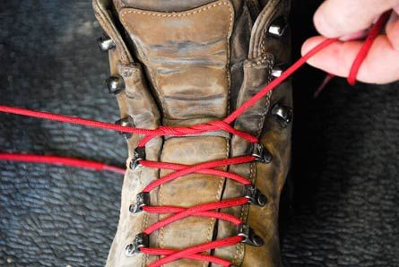 PROBLEM 3: Have too much heel lift? Tie two twists into each lace right at the ankle flex point.