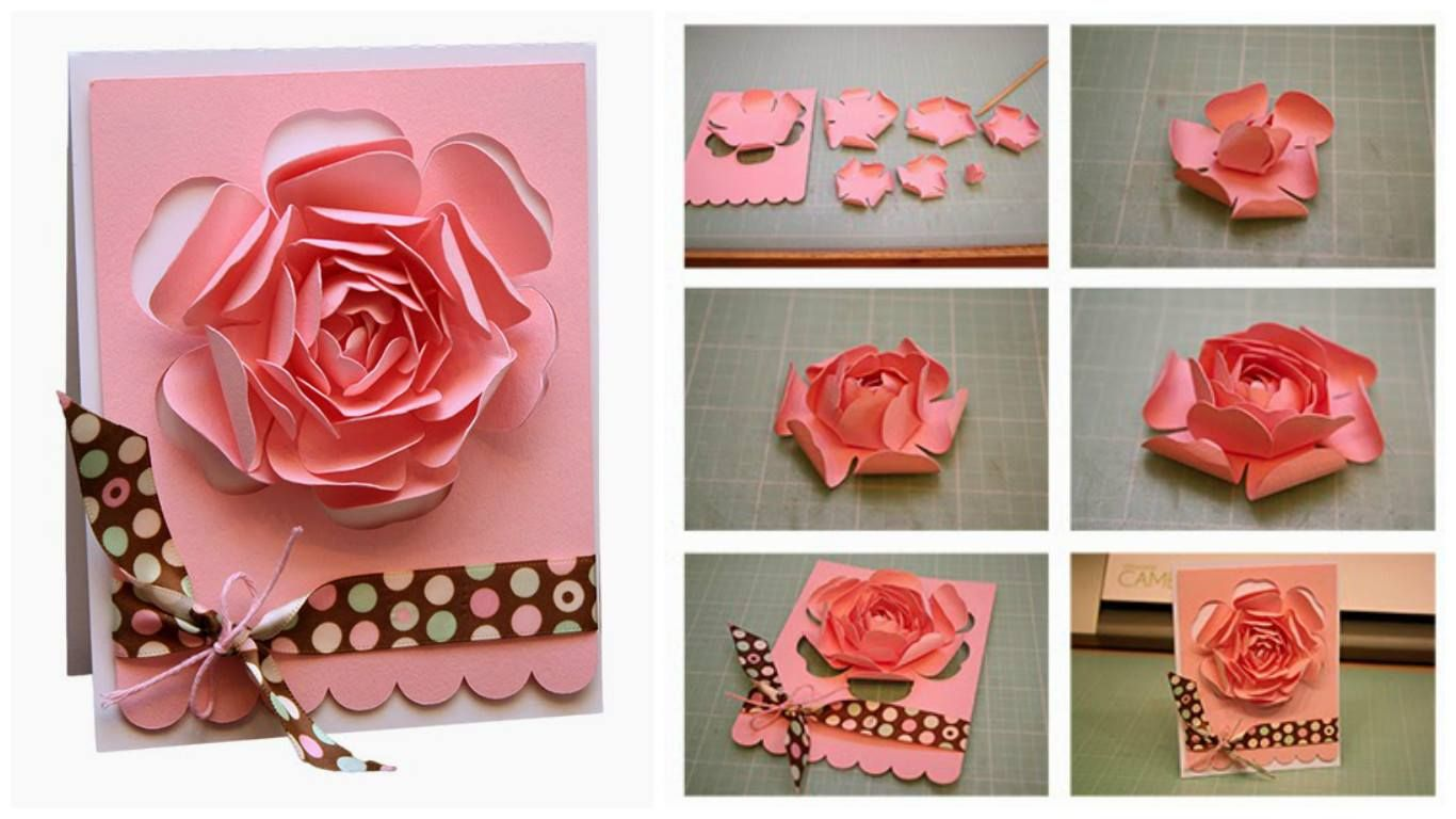 How To Make Greeting Card With Rose Pinterest Rose And Craft