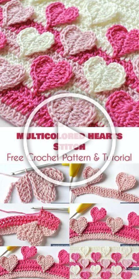 Bild von Mehrfarbiger Herzstich [Free Crochet Pattern and Tutorial]