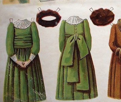 UNCUT McLoughlin Bros. BERTHA Paper Doll with Kate Greenaway-style clothes. (07/24/2014)