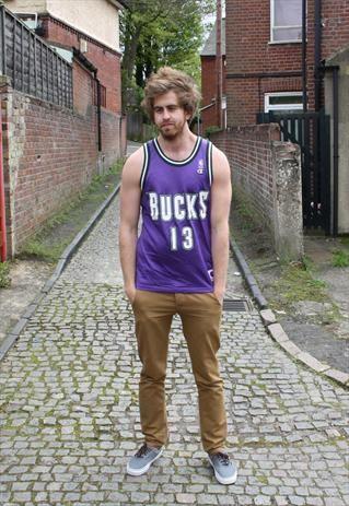 714af6ab1 Vintage Champion Milwaukee Bucks Basketball Jersey Vest
