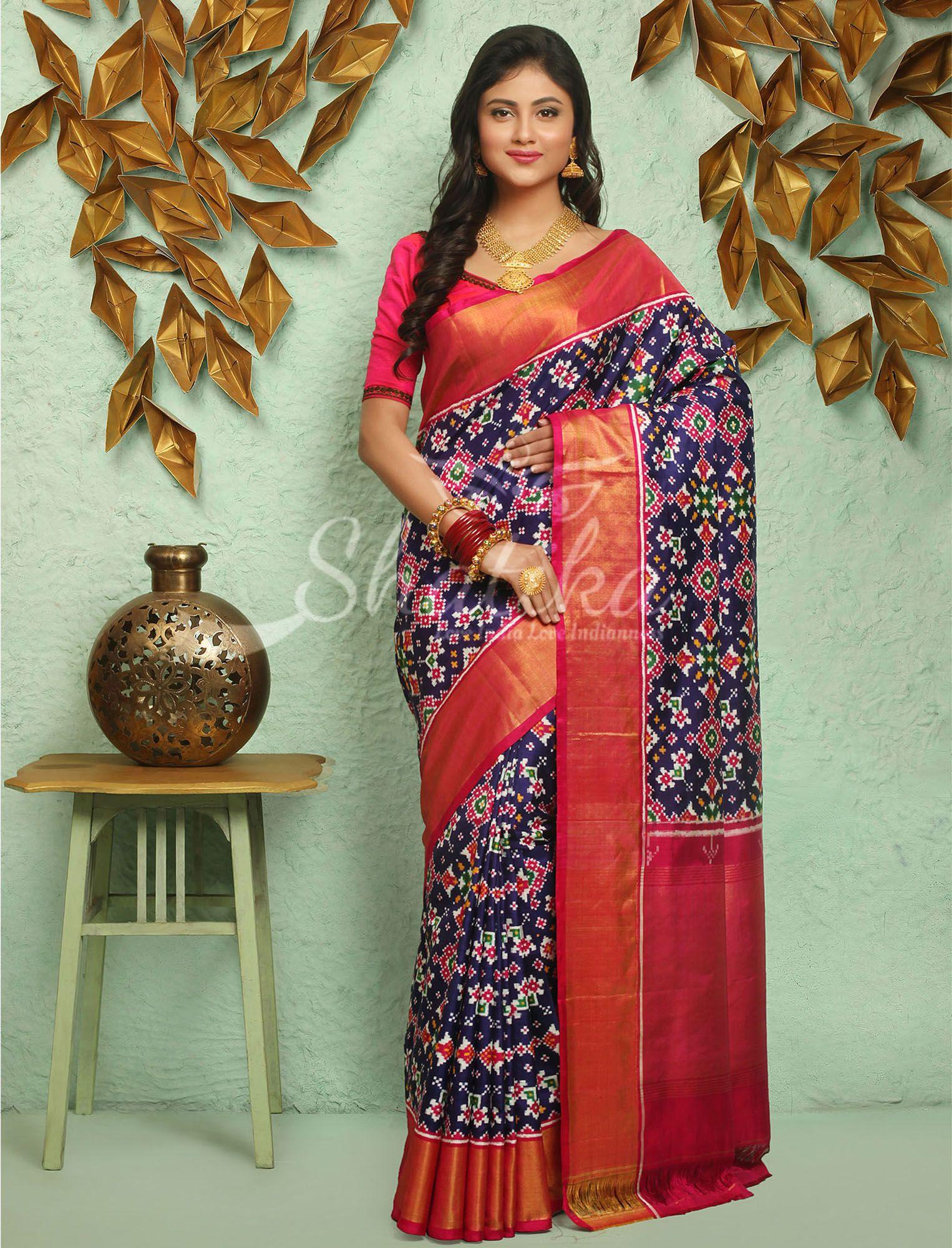 6f21a09c72e7a Hansaben Royal Deep Blue With Dazzling Colorful Design Double Ikat Patan  Patola Saree