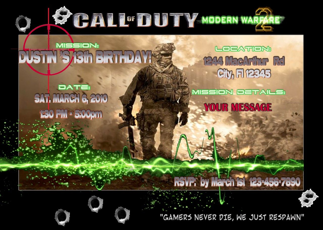 Call of duty birthday party invitations image collections call of duty modern warfare 2 black ops birthday party invitations call of duty birthday party filmwisefo