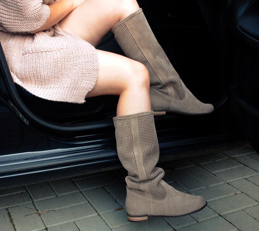 Kozaki Muszkieterki Azurowe Zamszowe Skorzane 38 Boots Shoes Ankle Boot