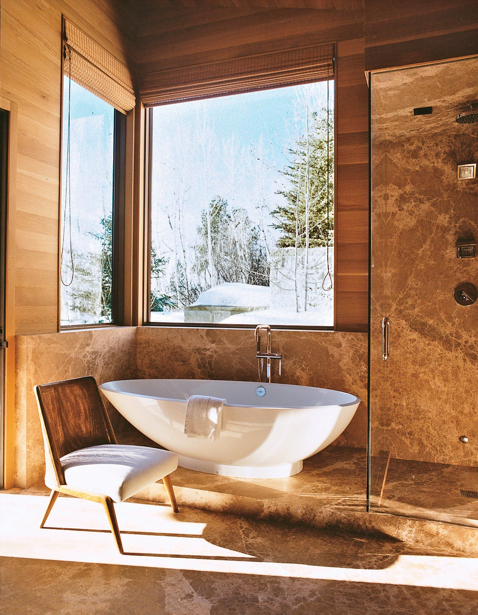Design Diary Aerin Lauders Aspen Ski House  Bathroom