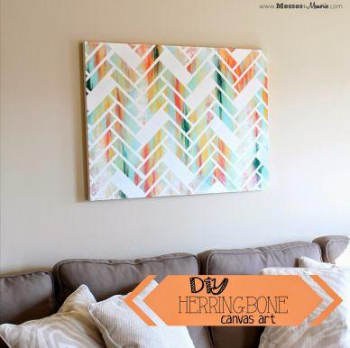 DIY HERRINGBONE CANVAS ART Bilder Pinterest Herringbone