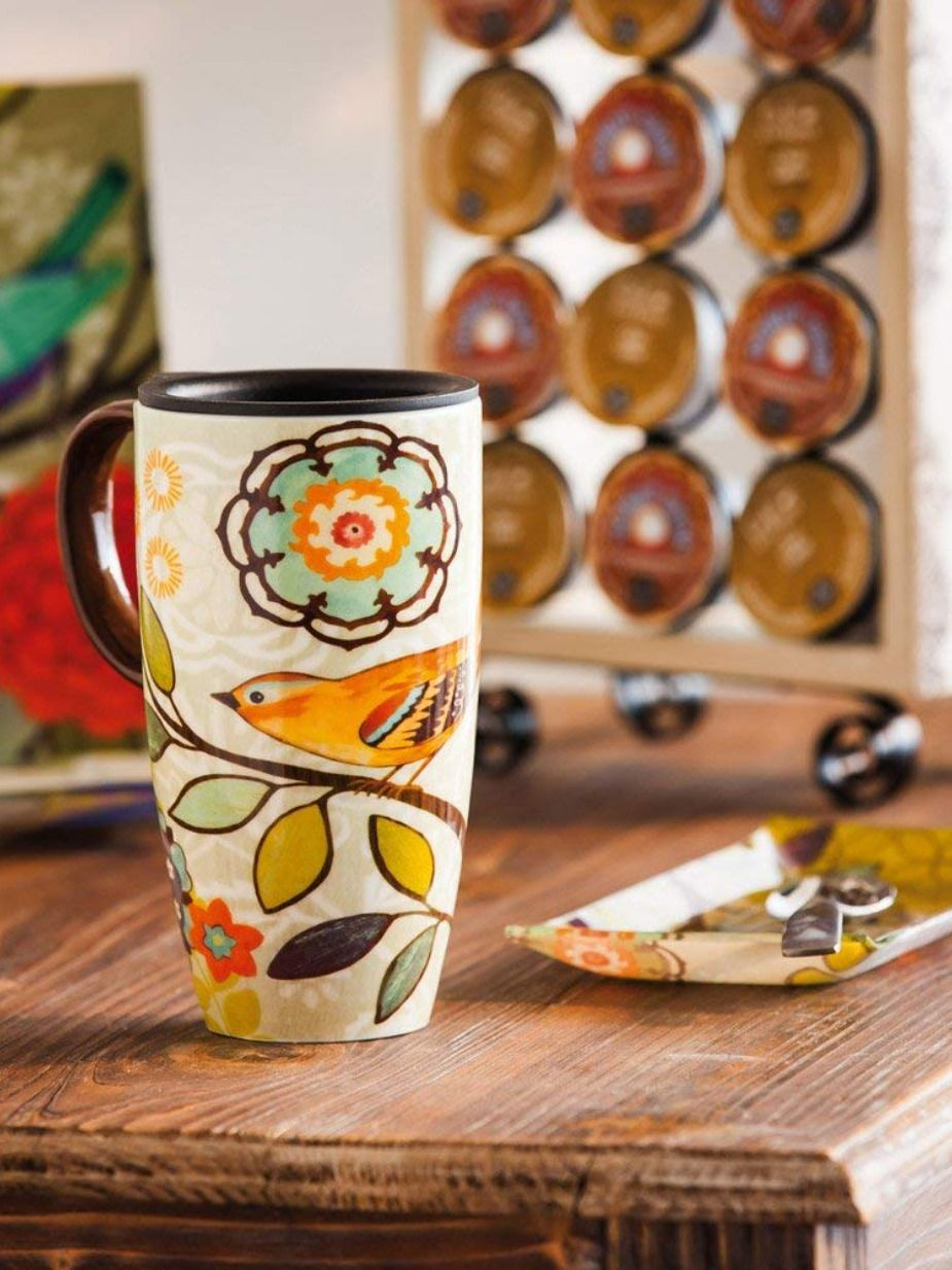 Bird and Flower Bliss Ceramic travel mug with handle and