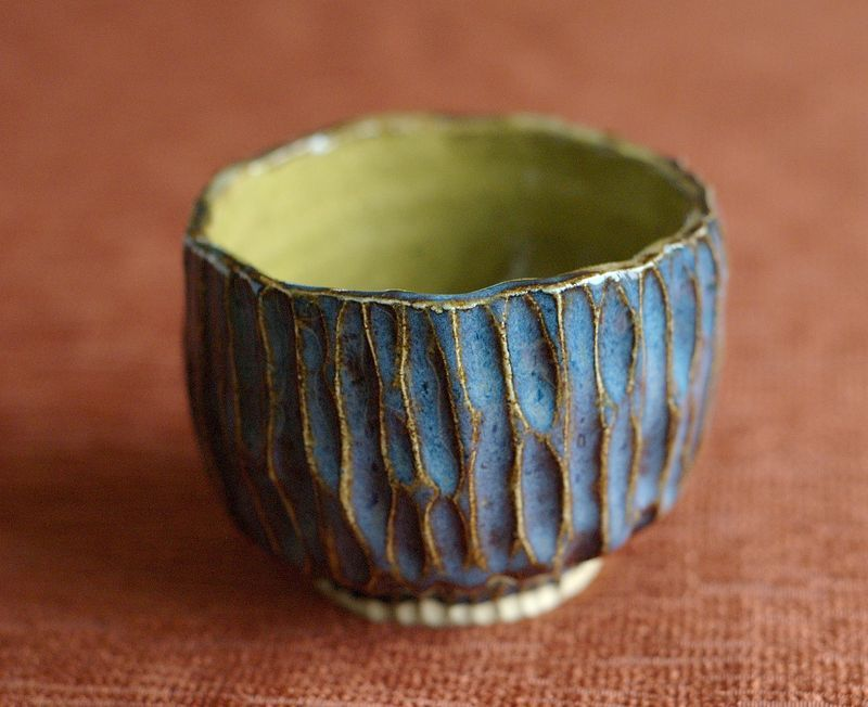 Carved pinch pot for Pottery designs with clay