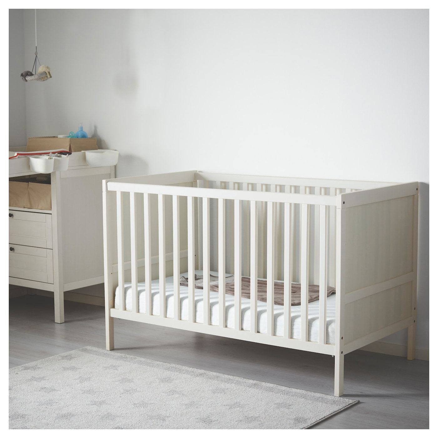 "SUNDVIK Crib, white, 27 1/2x52"" IKEA Ikea crib, Ikea"