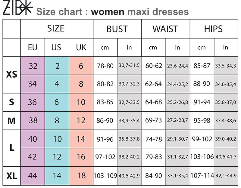 Women clothing size chart agree