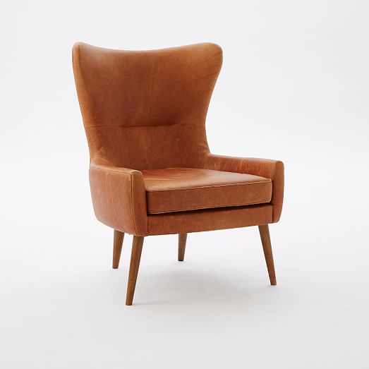 Erik Wing Chair Leather Burnt Sienna Leather Wing Chair Wing