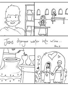 Jesus Turns Water into Wine: Sequence Coloring Pages | Bible: Jesus ...