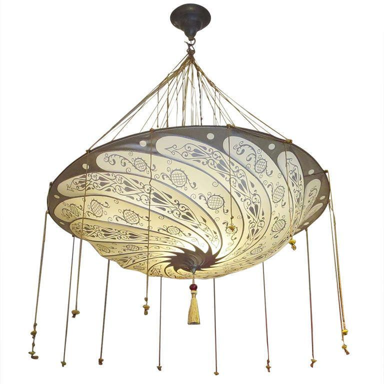 Fortuny Hanging Silk Parasol Chandelier Two Available – Fortuny Chandeliers