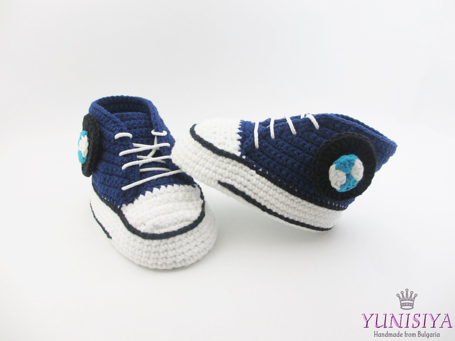 Dark blue baby shoes, crochet baby shoes, Sneakers Baby Converse ...