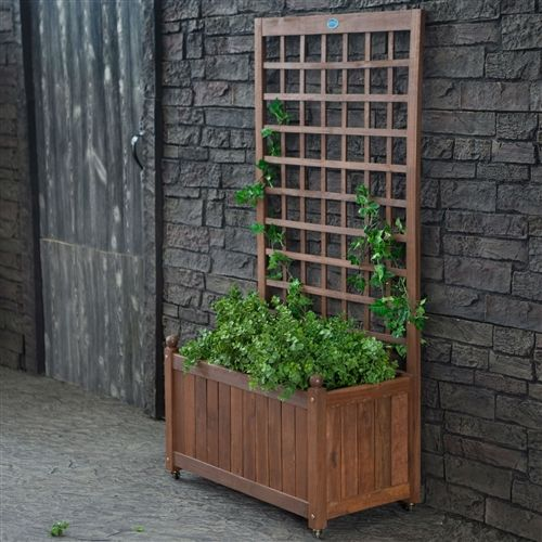 Wood Planter Box On Wheels With Grid Style Trellis Wood Planters Planter Box With Trellis Planter Trellis