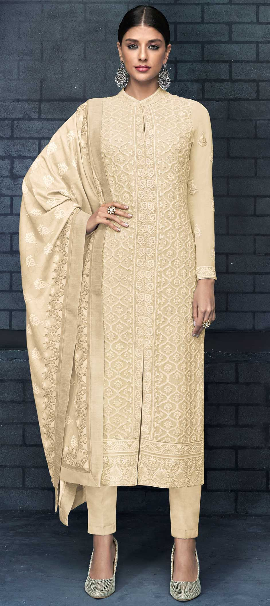 Faux Georgette Party Wear Salwar Kameez In Beige And Brown With Resham Work Faux Georgette Party Wear Salwar Kameez in Beige and Brown with Resham work Brown Things brown color salwar kameez