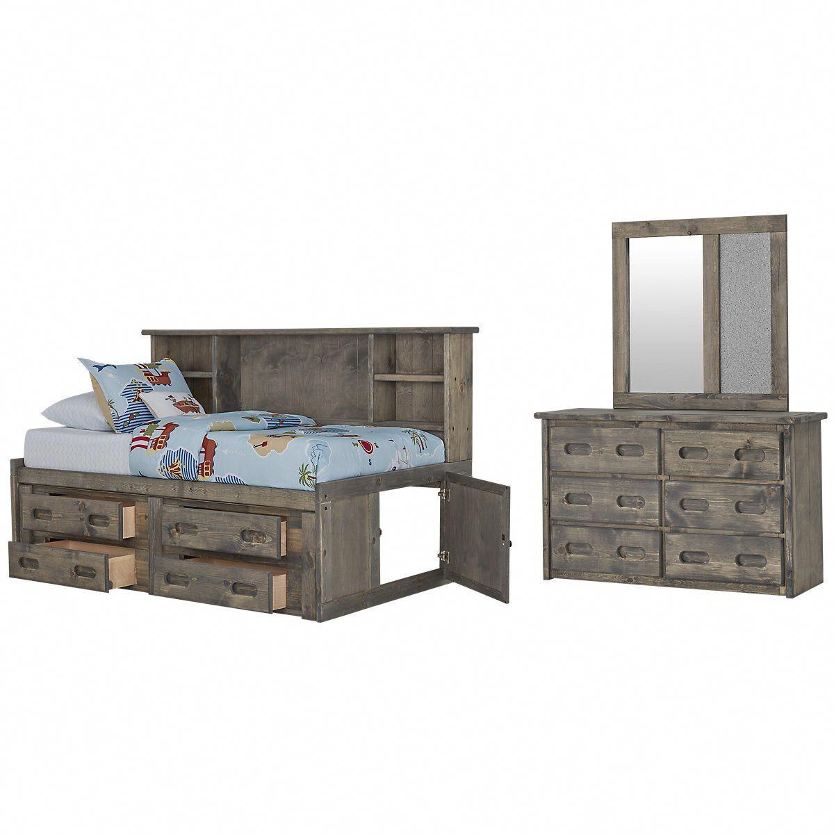 Cinnamon Gray Wood Storage Bookcase Daybed In 2018 Deck Furniture