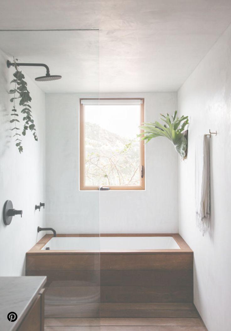 Minimalist simple with wood bathroom shower and tub ...