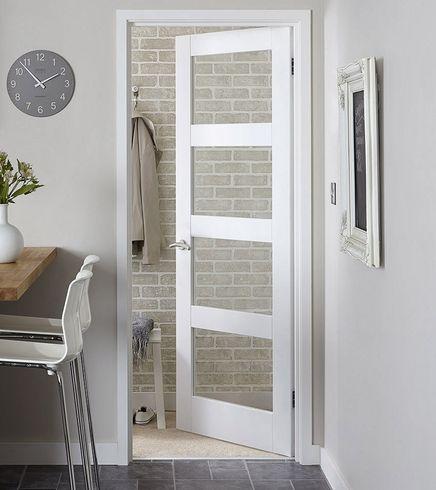 Primed 4 Panel Shaker Glazed Door Internal Stile Rail White Interior Doors Internal Glass Doors Internal Glazed Doors