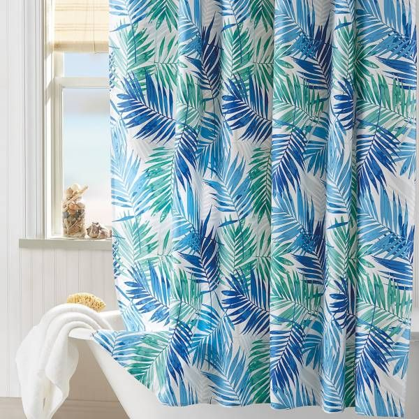 Product Image For Coastal Living Palm Shower Curtain In Aqua 1 Out