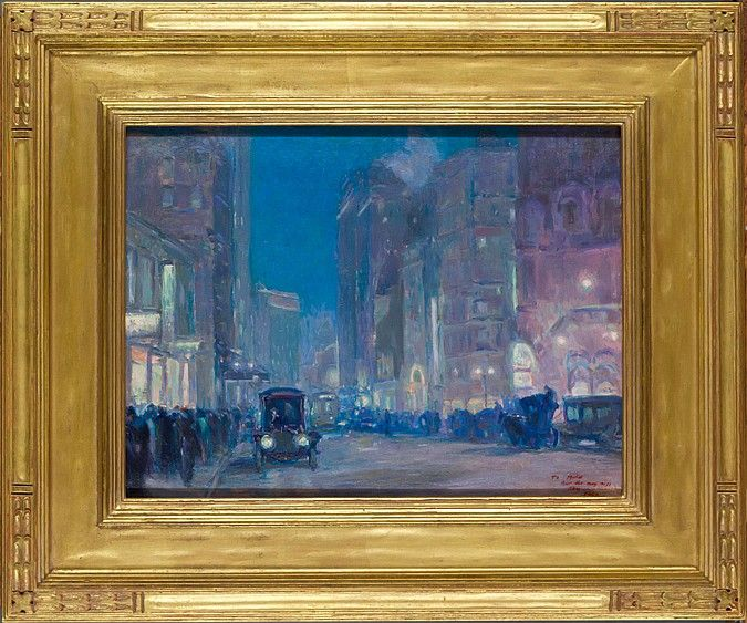 "CHARLES C. HOFFBAUER  American (1875-1957)  New York Street Scene  oil on panel, unsigned, inscribed ""To Muriel/that she may miss/them-/Eddie lower right.  10 5/16 x 13 3/4"