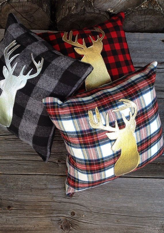 buffalo plaid pillow lodge decor deer pillow gold by jadiecakes holidays