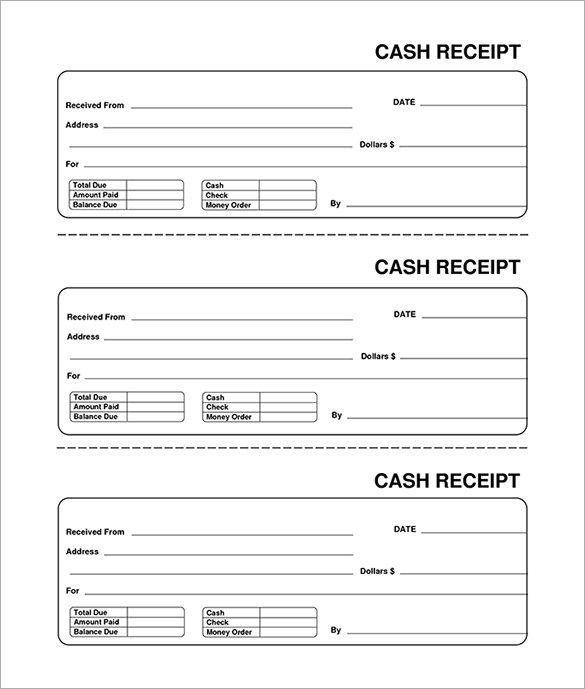 Cash Blank Receipt Template Excel