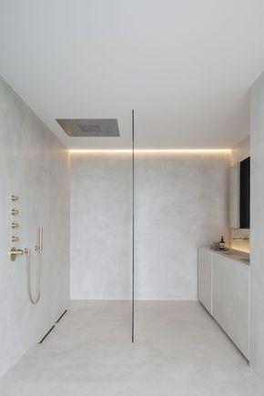 Une salle de bains #minimaliste en #béton ciré #déco #aménagement - peinture beton cire mur