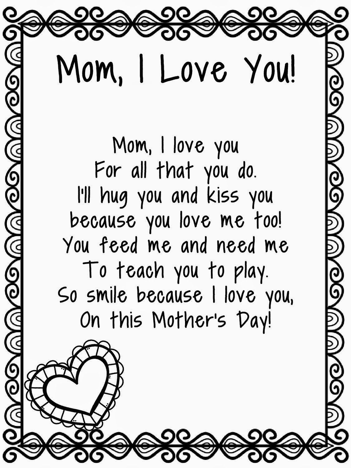 Mothers Day Poems For Kids Mothers Day Poems For Kids
