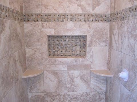 Ceramic Tile Shower Stall With Slate Mosaic Border And Shower Floor 2 Inch P