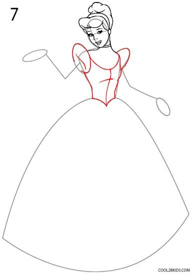 How To Draw Cinderella Step By Step Pictures Cool2bkids Cinderella Drawing Princess Drawings Drawings