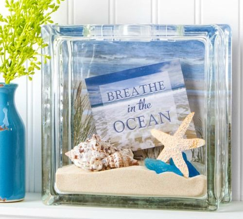 Beach Glass Block Decor Idea Beachcrafts For The Beachcottage Style Home Featured On Completely Coastal Com Glass Block Crafts Glass Crafts Glass Blocks