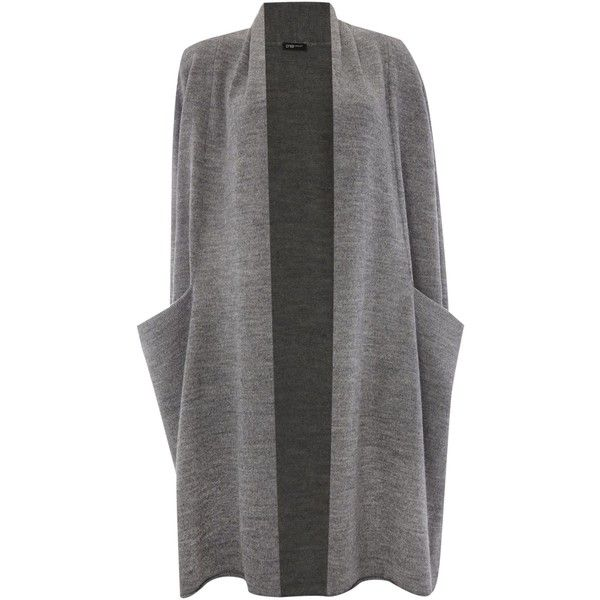 Crea Concept Long sleeve longline open cardigan ($325) ❤ liked on Polyvore featuring tops, cardigans, grey, women, gray top, grey open cardigan, grey long sleeve top, grey cardigan and gray open front cardigan