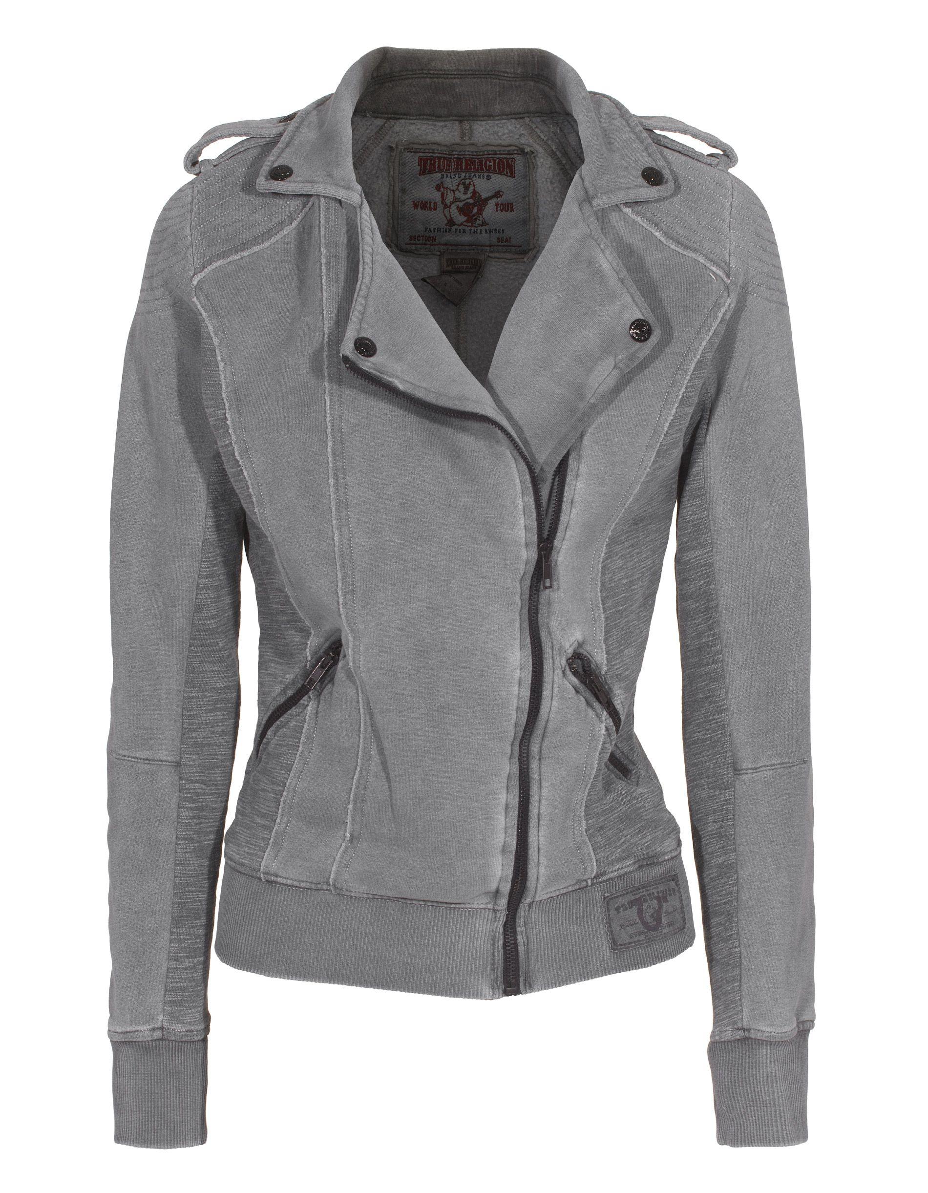 True religion fleece biker jacket black vintage zip sweater jacket