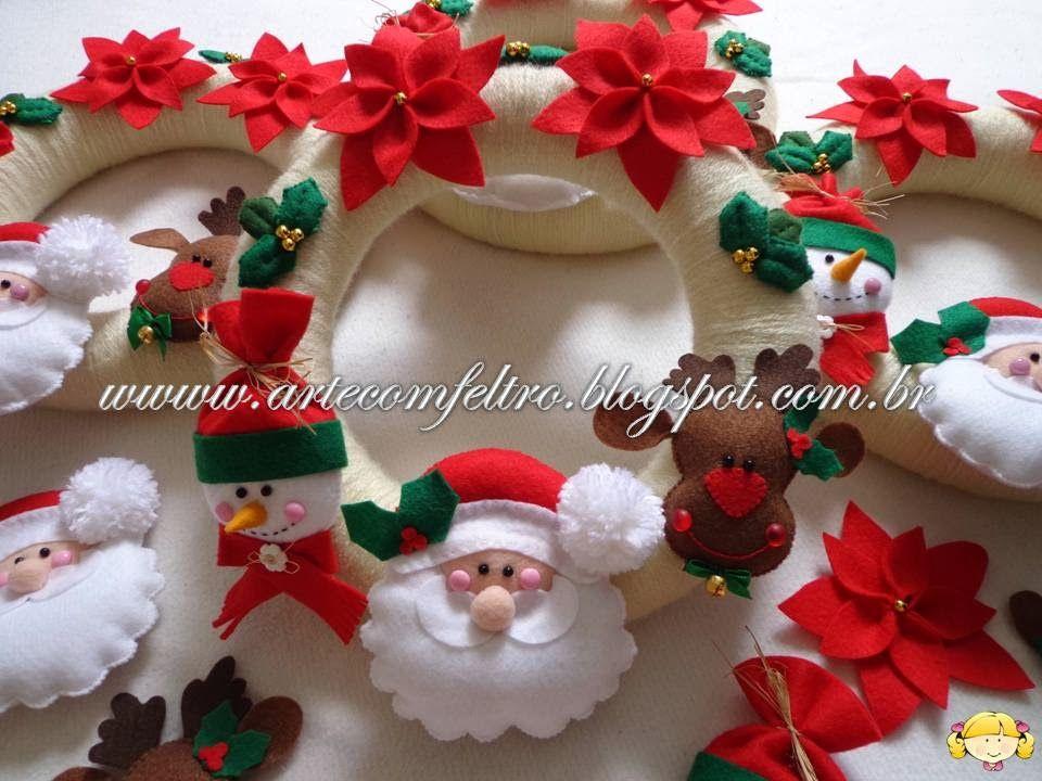 Corona de fieltro navidad pinterest corona de - Coronas navidenas de fieltro ...