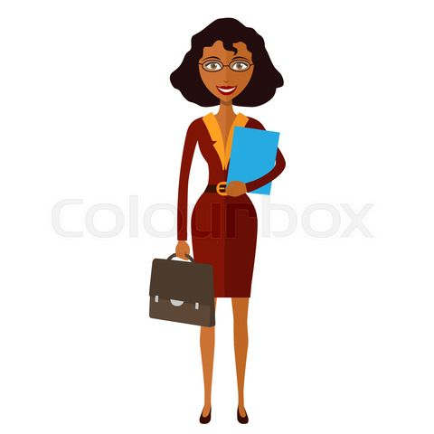 Spectacled Good Looking African American Business Lady