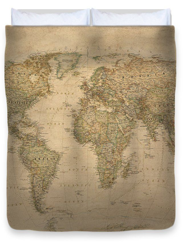 Vintage world map duvet cover for sale by gina dsgn king gumiabroncs Image collections