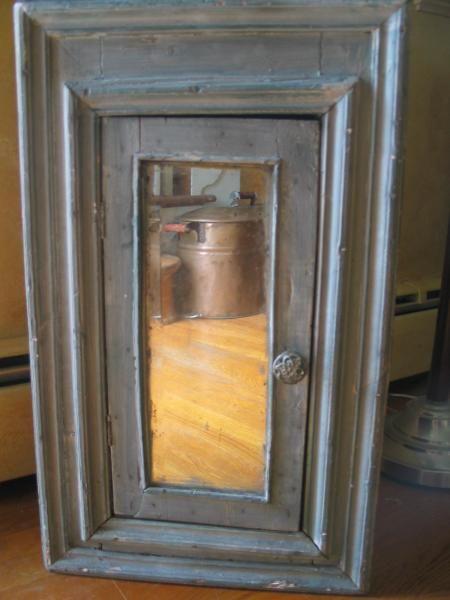 Antique Hanging Corner Cupboard Cabinet Blue Paint Mirror Primitive SE PA |  eBay - Antique Hanging Corner Cupboard Cabinet Blue Paint Mirror Primitive